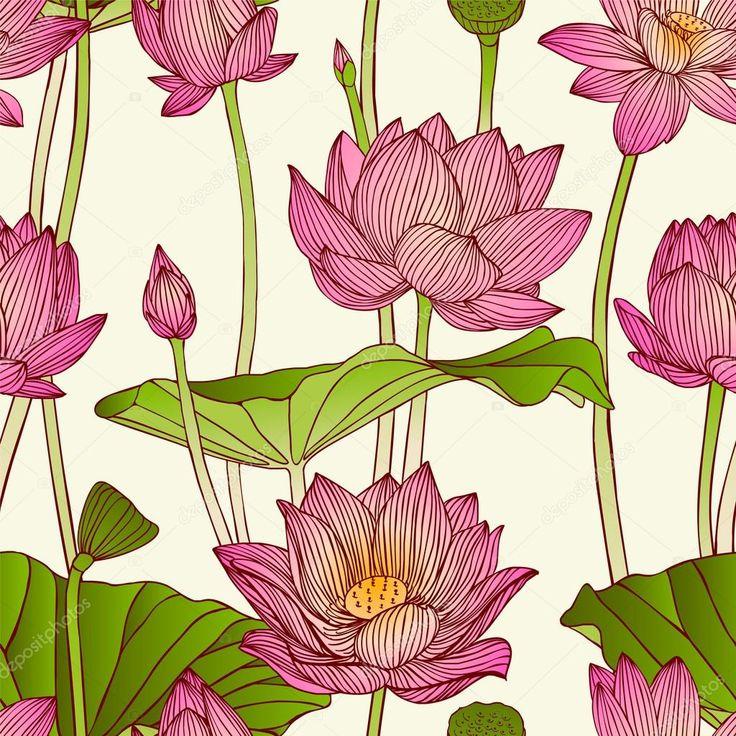 Бесшовный узор вектор - цветы лотоса