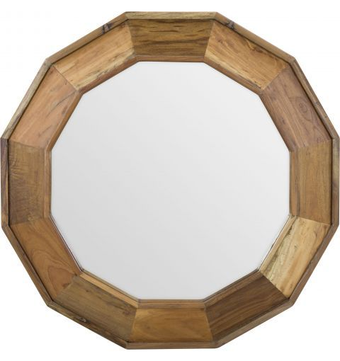 Antique Dodecagon Wood Framed Mirror, Rustic/Nat