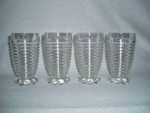 Vintage Anchor Hocking Manhattan Crystal Depression Glass Tumblers Set of 4 | eBay