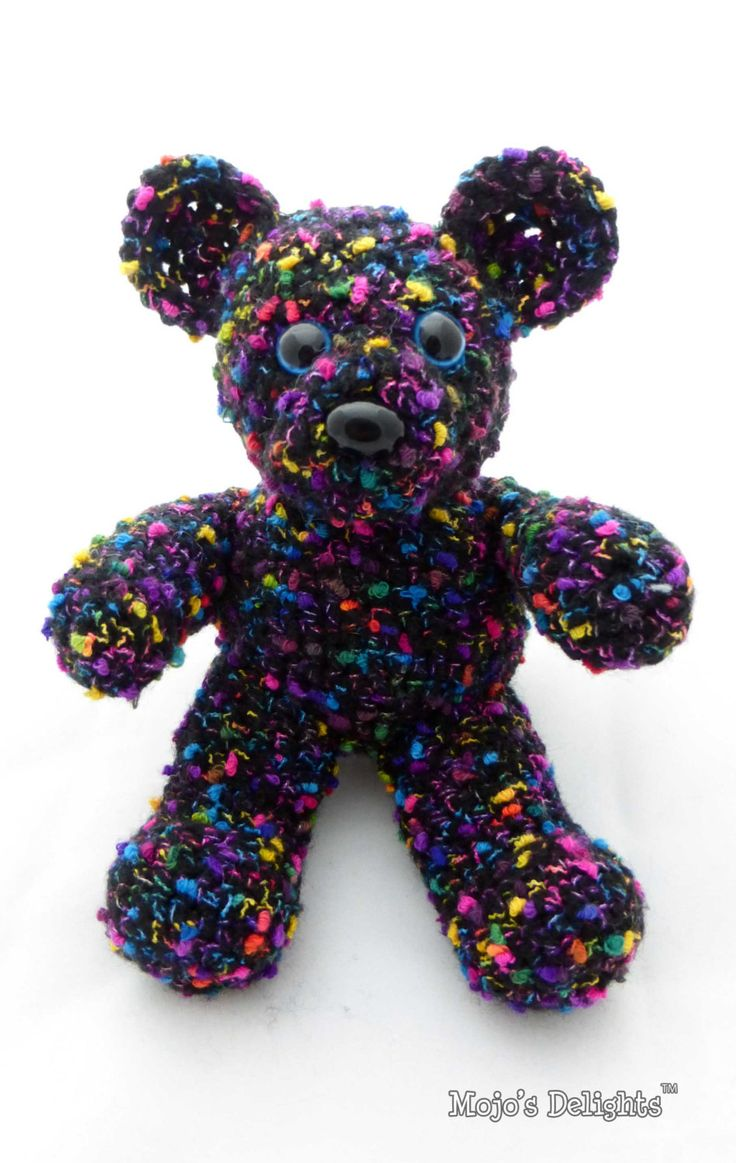 Crochet Bear - Black and Rainbow Speckled by MojosDelights on Etsy