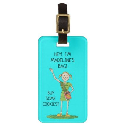 #Neon BLUE Girl Scout JUNIOR | Custom Luggage Tag - #luggage #tags