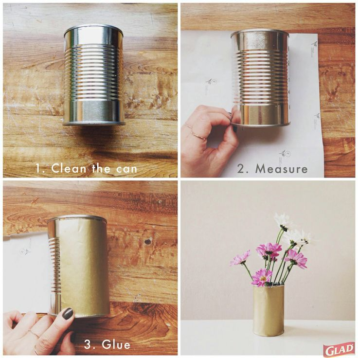 Empty food cans and old wrapping paper make great vases! # ...