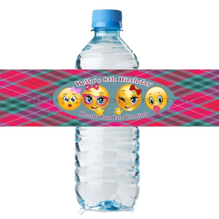 (20) Personalized EMOJI 2 x 8 Weatherproof Water Bottle Labels Party Favors #OnlineLabels #Party