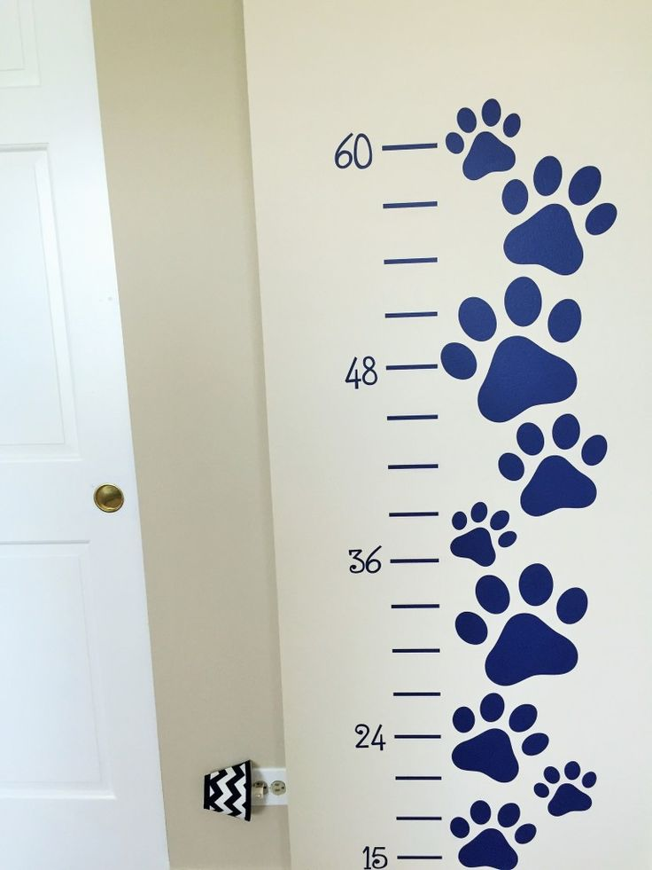 Paw print growth chart decal