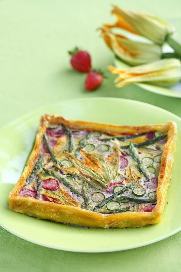 Savory Spring Tart with Zucchini Flowers Asparagus and Strawberries by DinnerInVenice