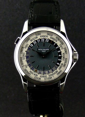 Patek Philippe's Platinum World Time has a self winding mechanism, displaying all the 24 time zones. In 2002 it became the most expensive watch sold in auction - $4,000,000