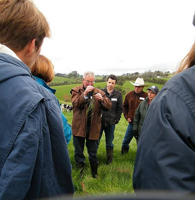 Sharing knowledge: agronomist John Gallienne shares knowledge on pasture management with a group at a Landcare field day held last year.