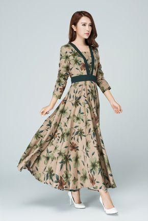 Retro dress, Long dress, linen dress, fall dresses for women, high waisted dress, fitted dress, long sleeves dress, womens dresses 1580