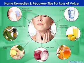 Effective home remedies for loss of voice includes warm salt water gargles, honey, onion syrup, ginger and garlic. Tips to recover soon from voice loss includes avoiding smoking and alcohol, limit your conversation etc.