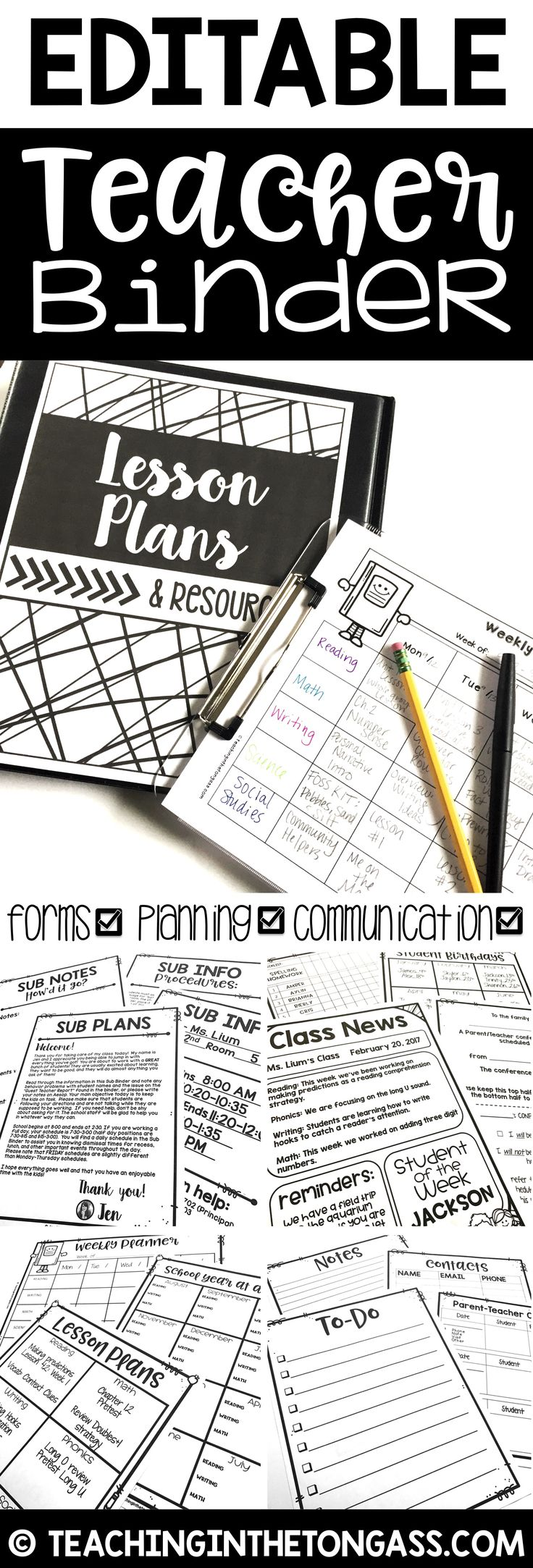 This Editable Teacher Binder is jam-packed with over 80 pages of teacher resources including binder covers, weekly planning pages, lesson plan template, substitute binder pages, class newsletter pages and more!