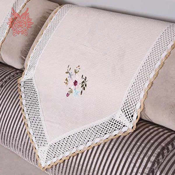 60 * 60 см белый / бежевый диван спинки полотенце цветочные жаккард диван подлокотник полотенце с кружевом пэчворк для диван украшения SP1693
