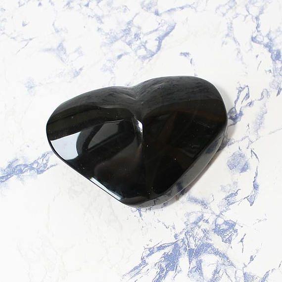 Rainbow Obsidian Heart Carved Crystal Heart Natural Obsidian