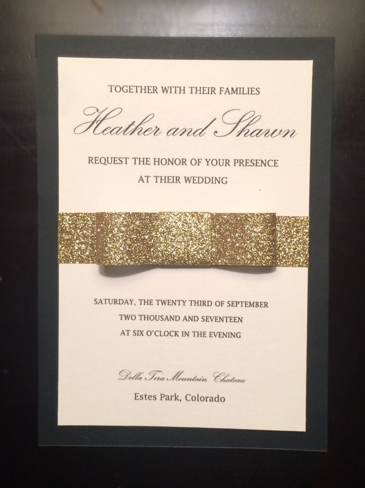 what should an evening wedding invite say%0A Black Gold and Ivory Glitter Bow Wedding Invitation by AllThatGlittersCards  on Etsy https