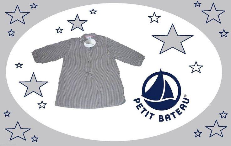 NEUF magnifique Robe Petit bateau bébé fille 12 mois val 80€ gris a rayure