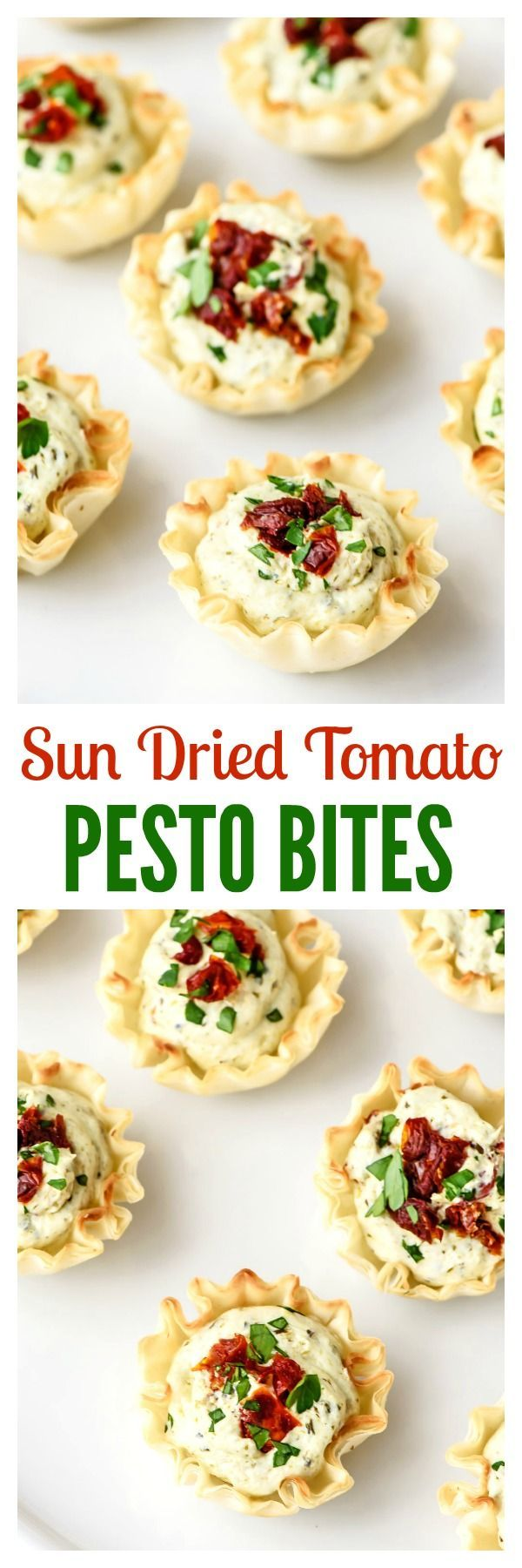 These easy Sun Dried Tomato Pesto Bites are the perfect Christmas appetizer. A few store-bought shortcuts make them quick and easy, everyone adores them, and they are even red and green!