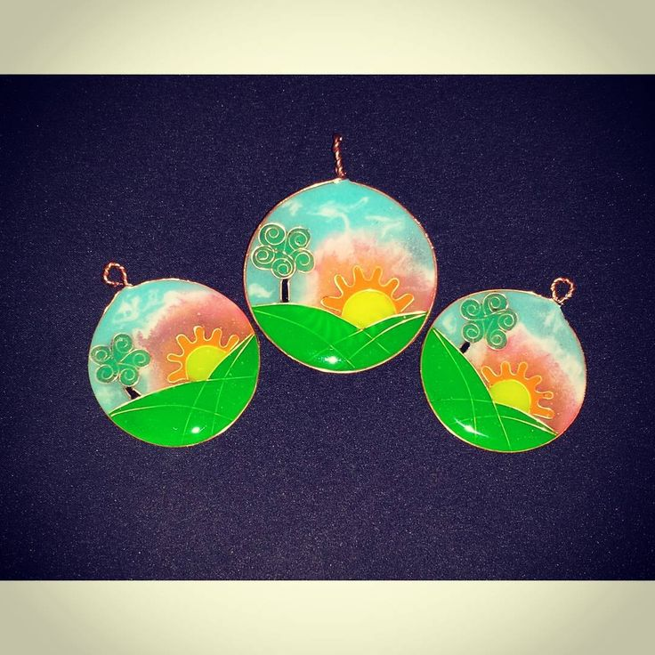 "Naive art jewelry set. ""Painting"" in copper wire and epoxy resin. 100% handmade"