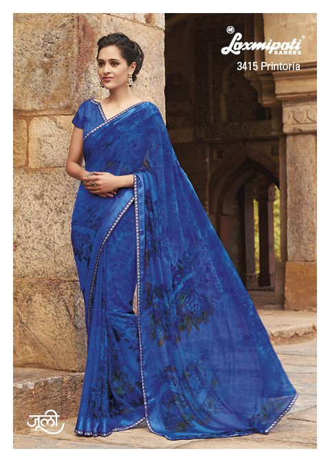 Pogo and diamond studded georgette saree with minakari lace is getting better with your different draping style.