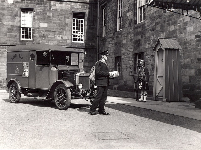 A postman delivers mail at Holyrood House, Edinburgh 1934