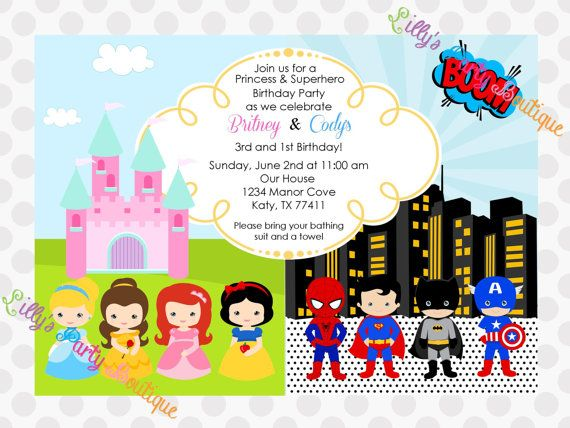 11 best images about Fairy Princess Superhero Party – Superhero Party Invitation