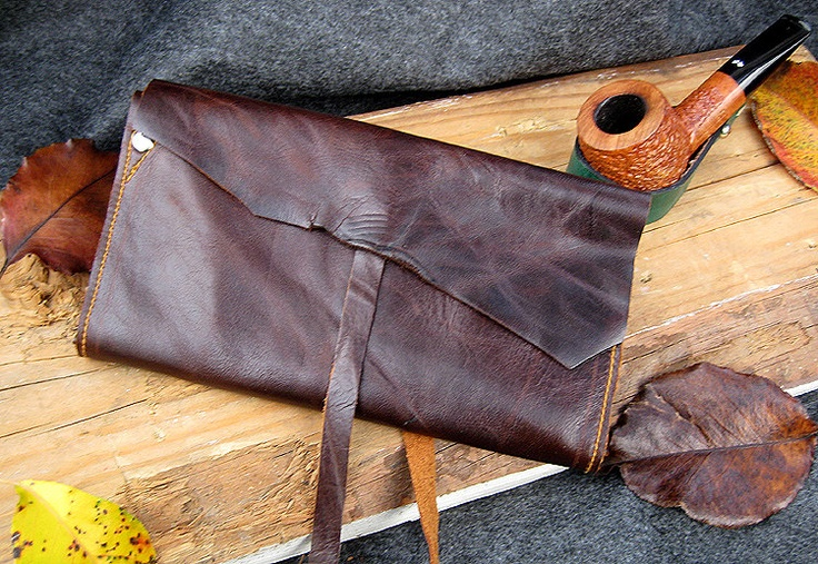Rustic Leather Pipe & Tobacco Pouch  Roll Up by SorringowlandSons, $48.00
