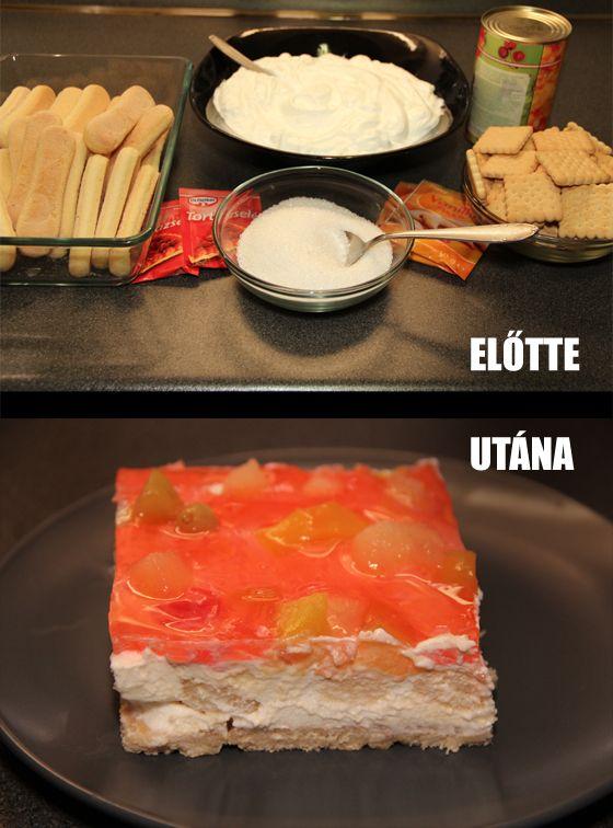 Tejfölös, kekszes, gyümölcsös süti - sütés nélkül | Gasztro TV