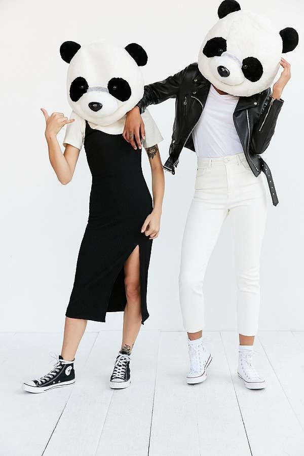 Twinning at Halloween. Giant Panda Heads from Urban Outfitters.