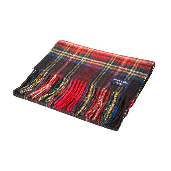 Stewart Black Tartan Scarf made from beautiful, super soft, and warm 100% lambswool. $39.95