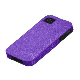 Purple Embossed Floral Design Suede Leather Look Vibe iPhone 4 Covers
