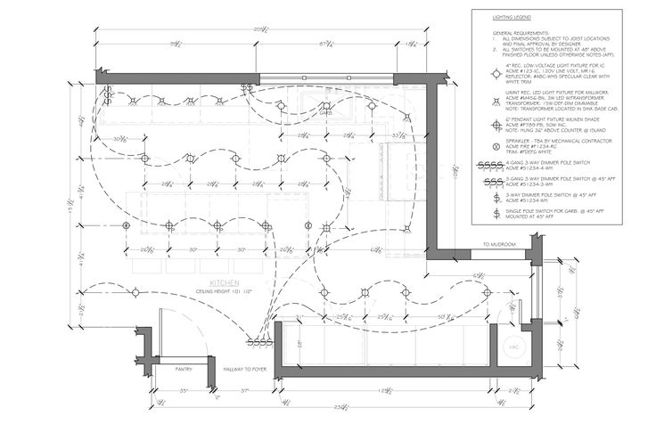 kitchen reflected ceiling plan example