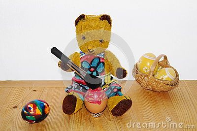 Teddy bear Morulet and Easter eggs.  The bear is bought from the supermarket 50 years ago.