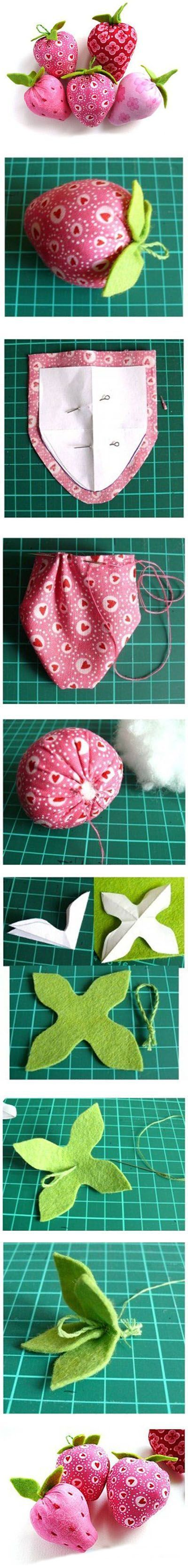 DIY these cute Strawberries from your favorite fabric and some felt.: