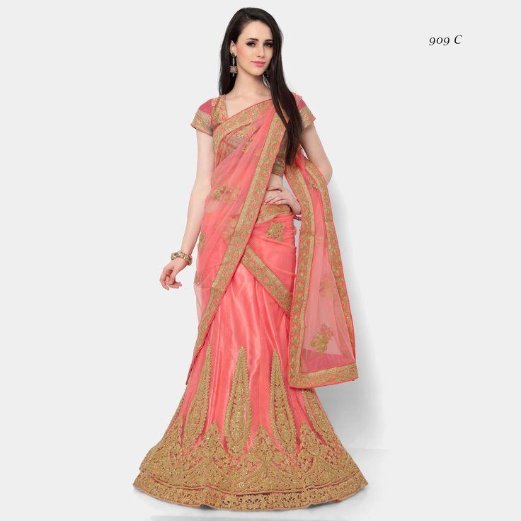 Buy Apparels- Peach Colour Net Designer Embroidery and Stone Work Lehenga Choli