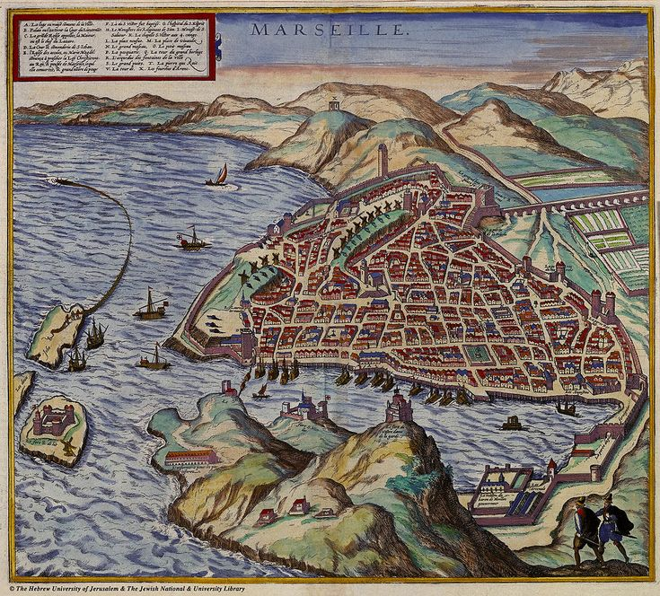 Map of Marseille in in the foreground