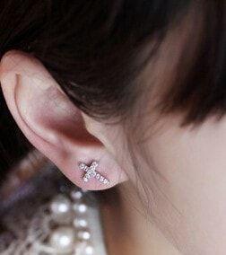 Delicate Diamond Cross Earrings