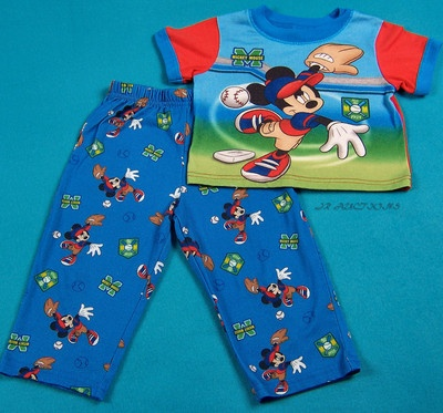 Boys Disney Character Mickey Mouse Pajamas Toddler Size 24 Months 2T Sleepwear  $7.59