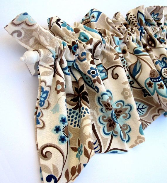 Valley Valance Curtains Brown Tan Blue Teal Flowers Leaves