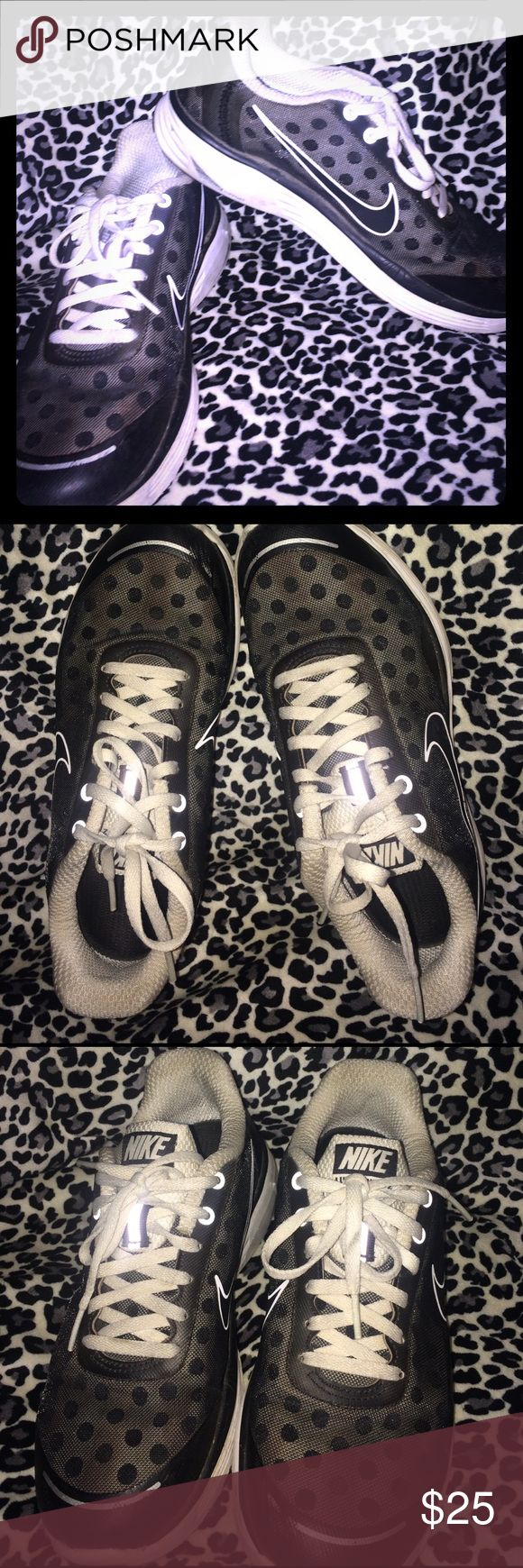 Nike Lunar Swift 2 Black White polka Dots! Super Cute Nikes with polka Dots😍good used condition! Sz 7! Nike Shoes Athletic Shoes