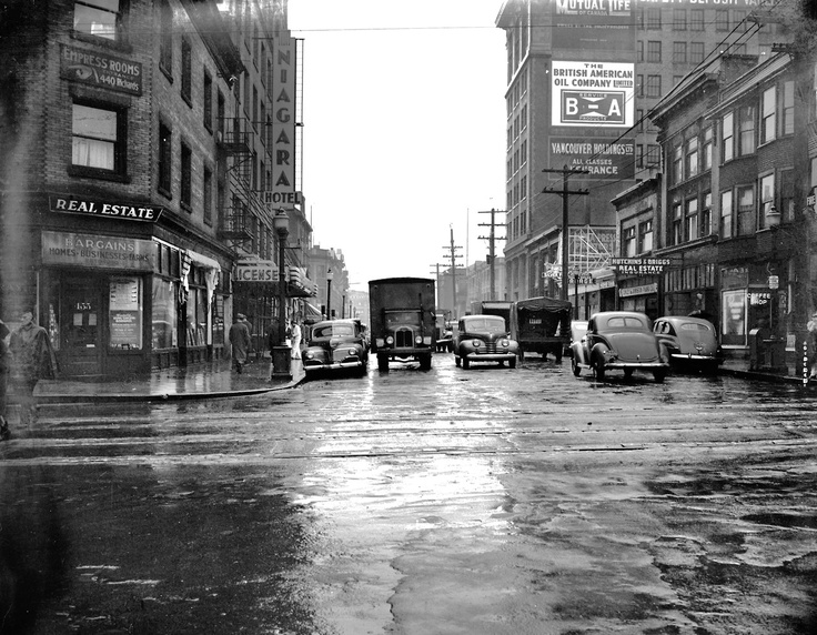 West Pender at Richards, February 1946  Source: Photo by Don Coltman, City of Vancouver Archives #586-4225