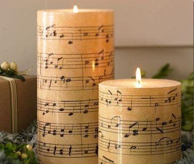 Декупаж свечей нотами