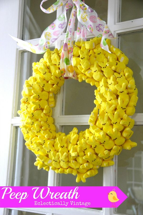How to Make a Peeps Wreath that lasts for years!    Don't think it would last on my front door, but it's cute anyway........