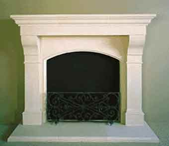 AMHURST Cast limestone fireplace/mantle from Old World Stoneworks in Dallas. We have this one, and it is beautiful!