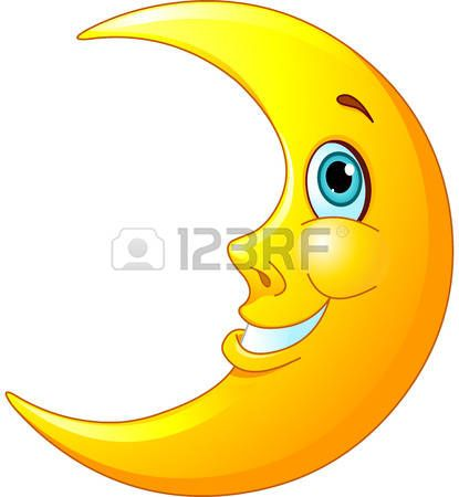 Illustration of a happy moon with a friendly smile on his face photo