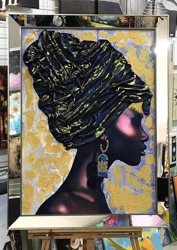 Boya Ve Bez Kabartmali Afrikali Kadin Tablosu 2020 Tablolar Tuval Sanati Aynalar