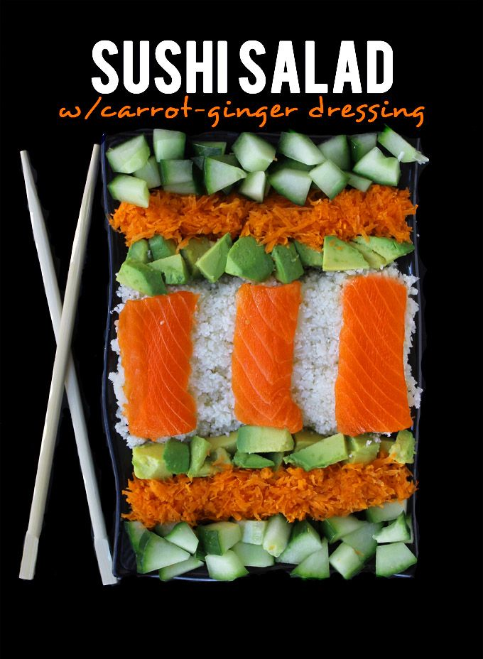 Sushi Salad with Carrot Ginger Dressing // thehealthymaven.com #paleo ...