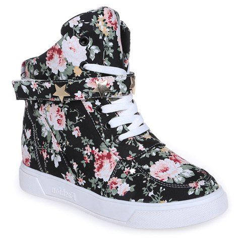 Fashion Style Floral Print and Lace-Up Design Women's Canvas Shoes