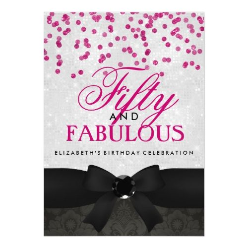 125 best 50th birthday party invitation images on pinterest 50 50th birthday party invitations pink black fabulous 50th birthday party invite stopboris Gallery