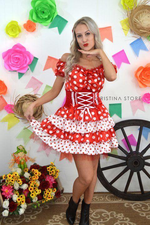Vestido Poá Vermelho - Caipira Chic - comprar online