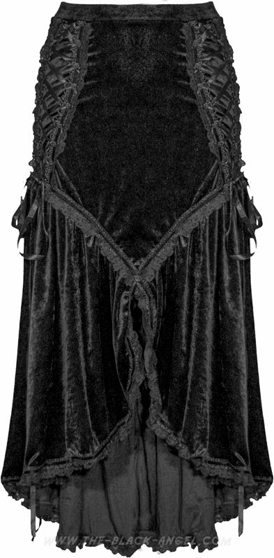 Beautifully ornate gothic skirt by Sinister, crushed velvet with lace and ribbons details.