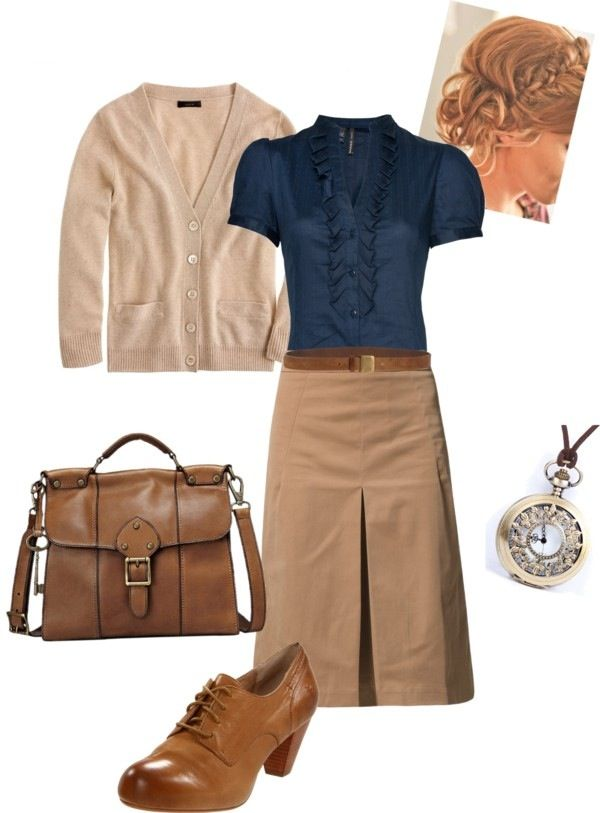 ruffled top. cardi. leather bag. the shoes tho! simple accessories.