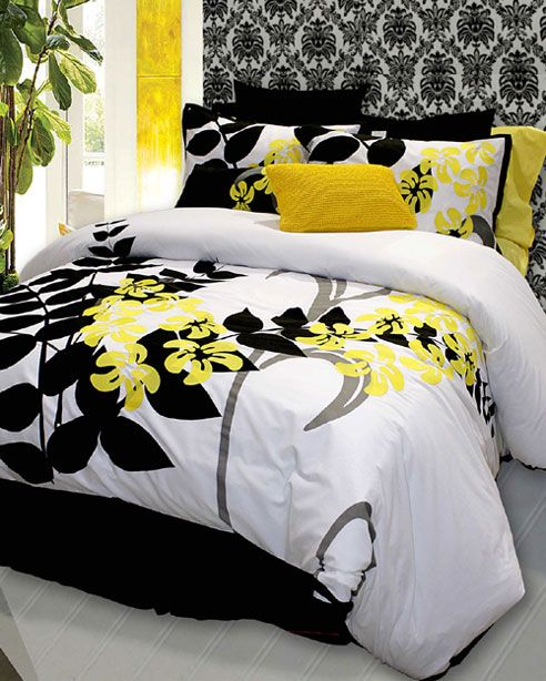 This may be my next duvet cover it would look great with my gray venetian plastered walls - Black white grey and yellow bedroom ...